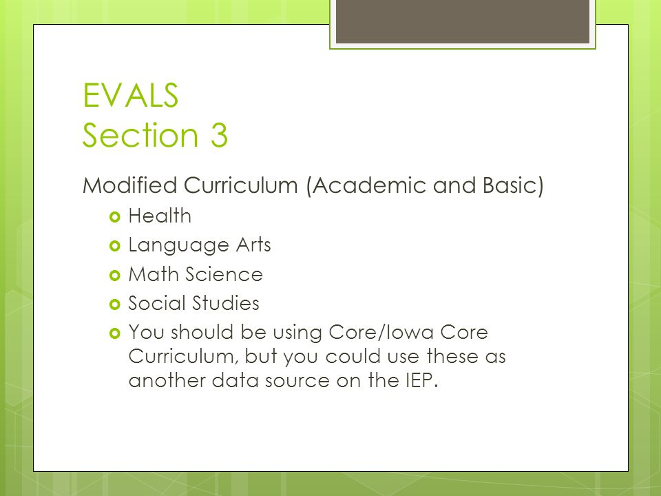EVALS Section 3 Modified Curriculum (Academic and Basic) Health