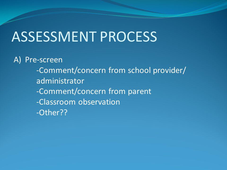 ASSESSMENT PROCESS Pre-screen
