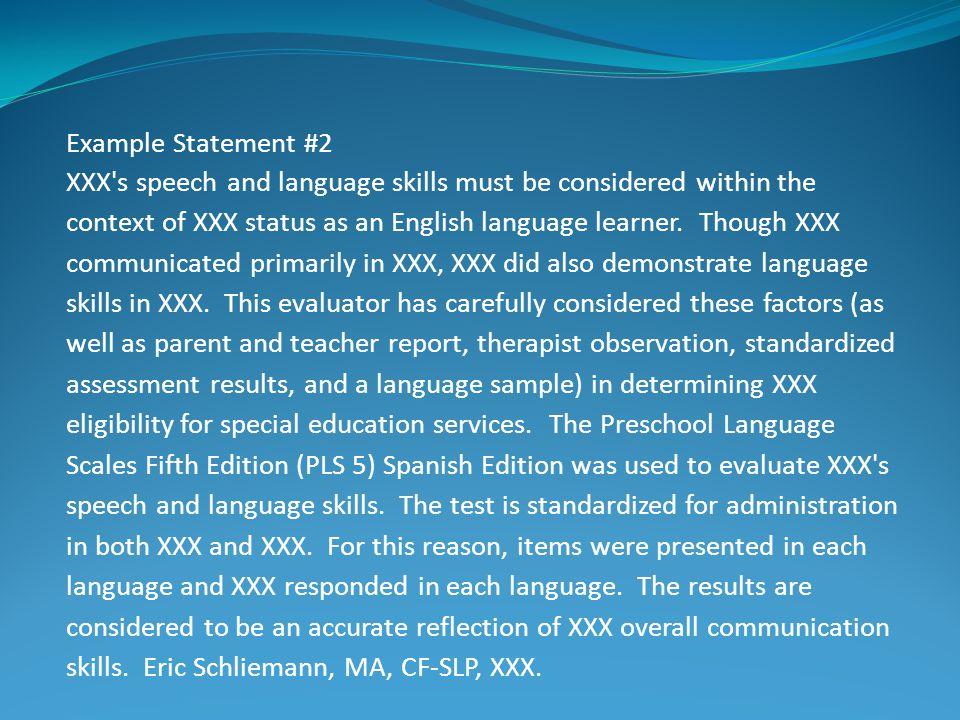 Example Statement #2