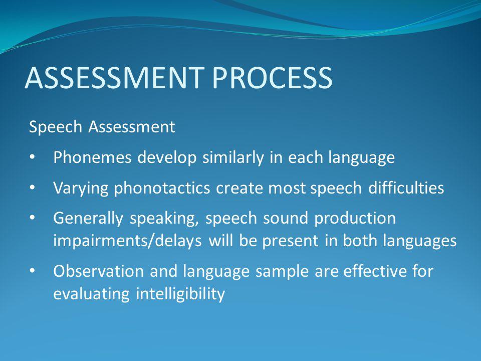 ASSESSMENT PROCESS Speech Assessment