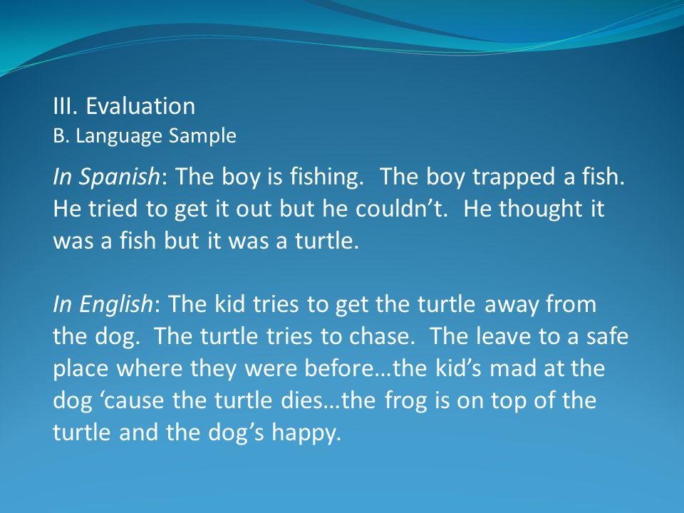 III. Evaluation B. Language Sample.