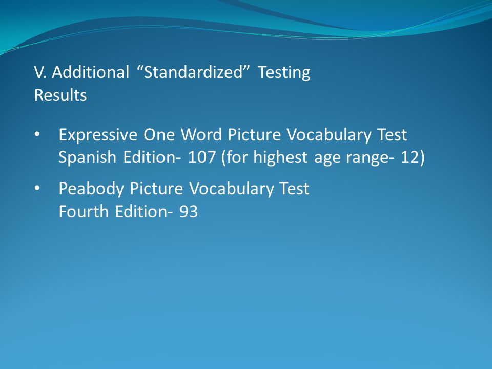 V. Additional Standardized Testing