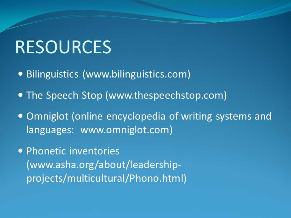 RESOURCES Bilinguistics (www.bilinguistics.com)
