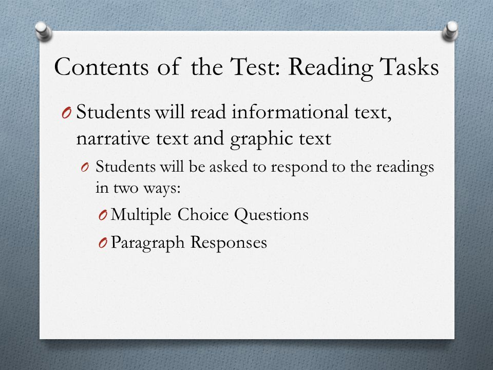 Contents of the Test: Reading Tasks