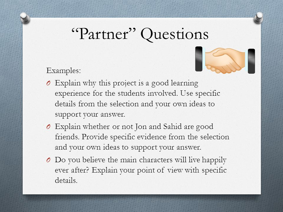 Partner Questions Examples: