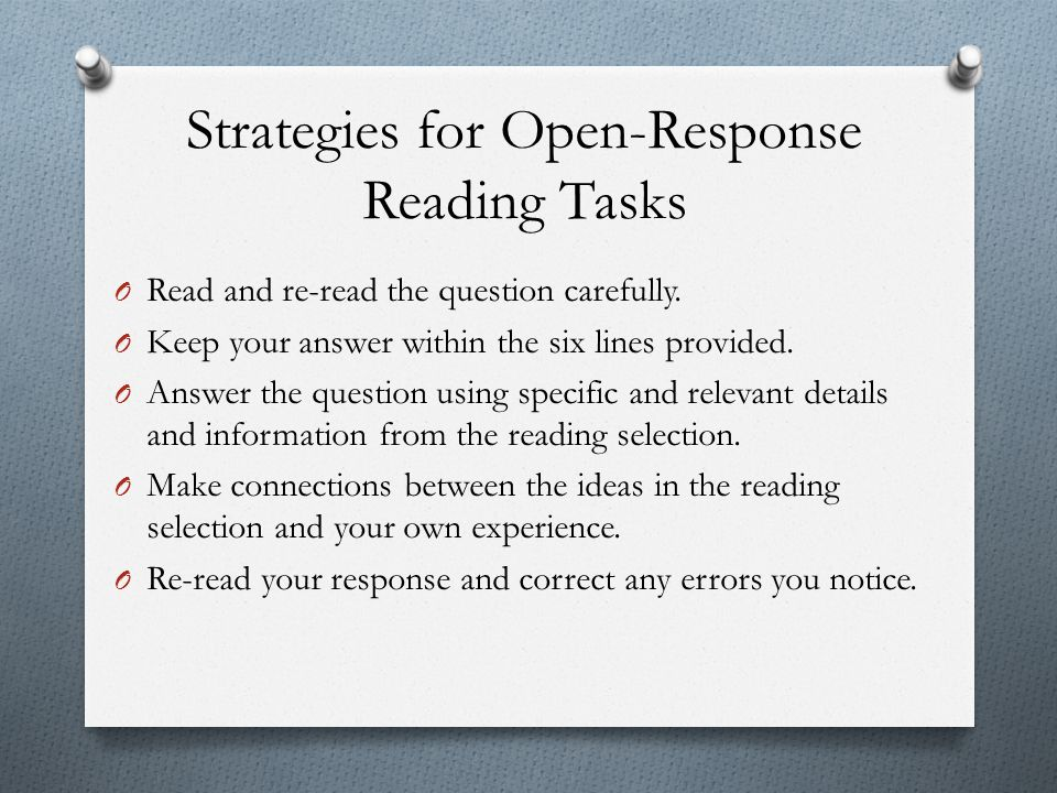 Strategies for Open-Response Reading Tasks