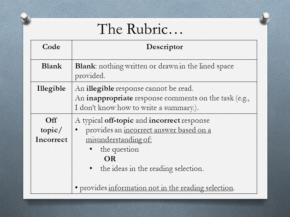 The Rubric… Code Descriptor Blank