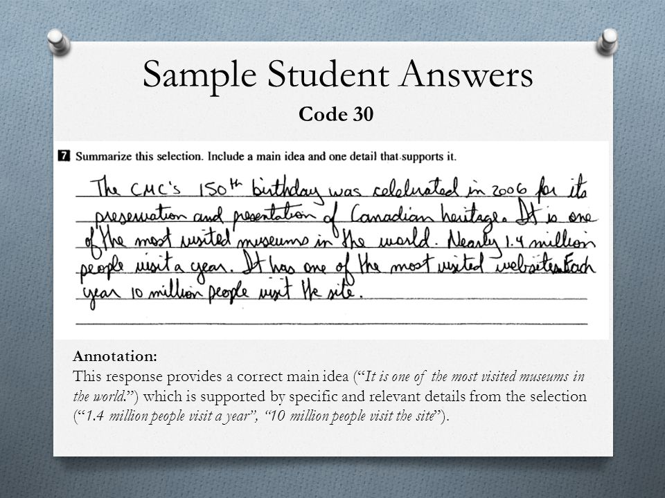 Sample Student Answers
