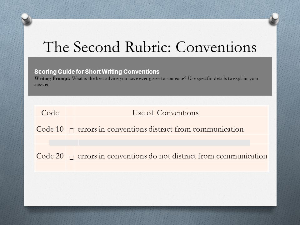 The Second Rubric: Conventions