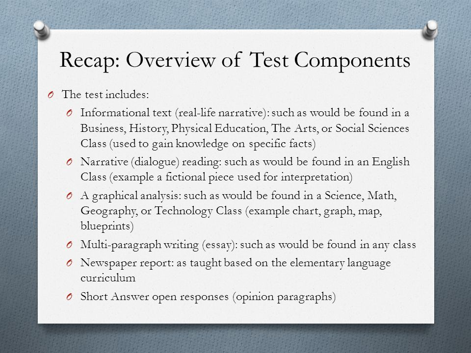 Recap: Overview of Test Components