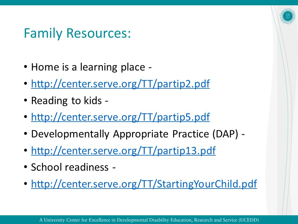 Family Resources: Home is a learning place -