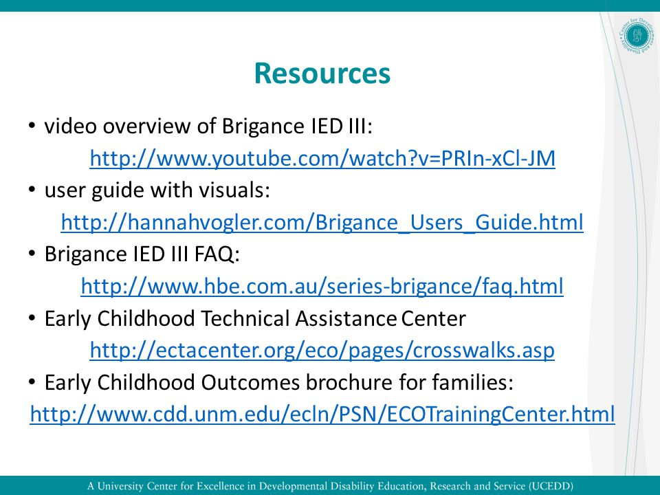 Resources video overview of Brigance IED III: