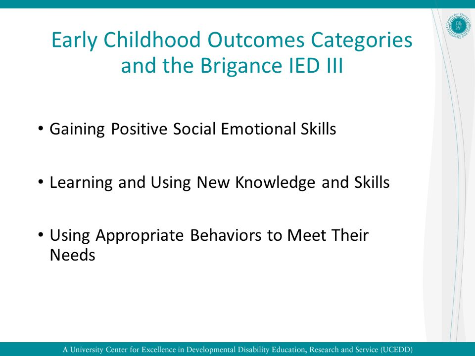 Early Childhood Outcomes Categories and the Brigance IED III