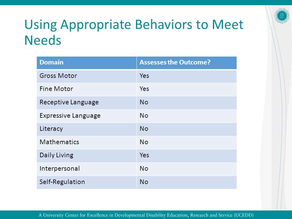 Using Appropriate Behaviors to Meet Needs