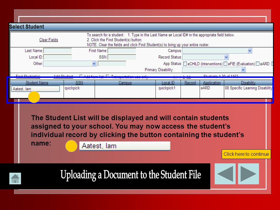 Uploading a Document to the Student File