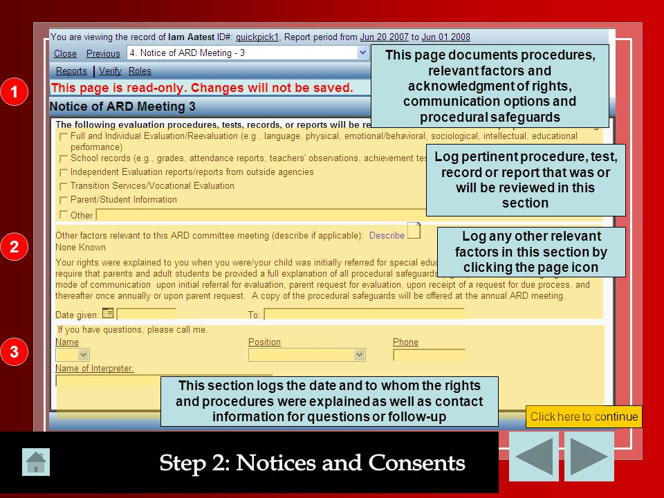Step 2: Notices and Consents