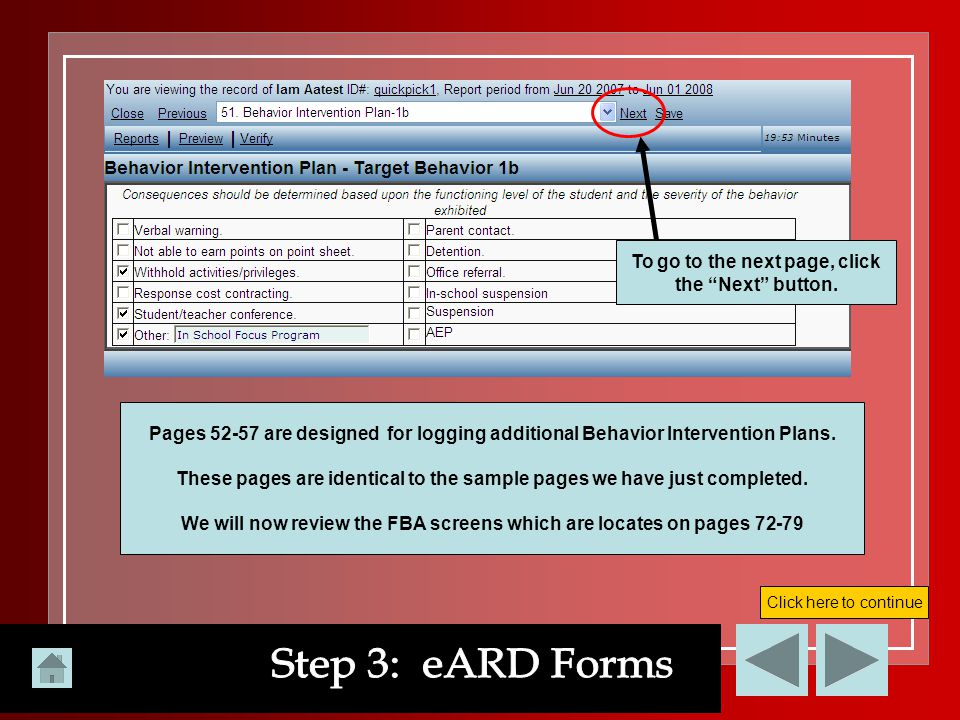 Step 3: eARD Forms To go to the next page, click the Next button.