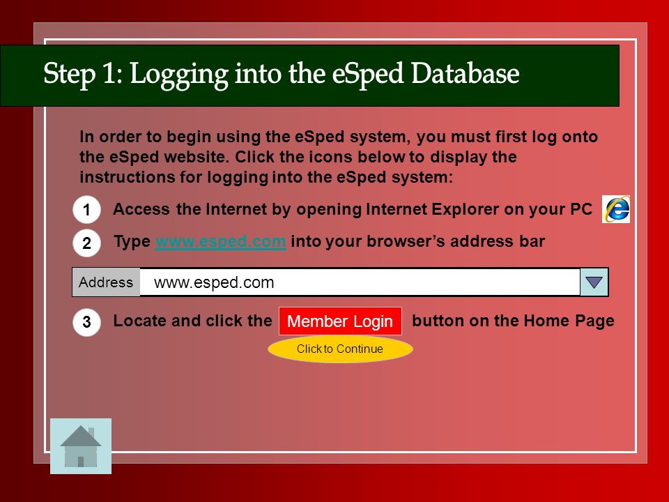 Step 1: Logging into the eSped Database