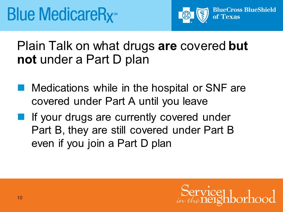 Plain Talk on what drugs are covered but not under a Part D plan