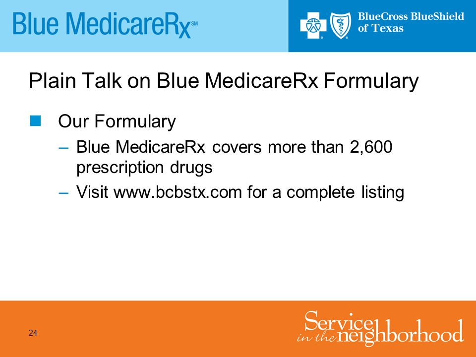 Plain Talk on Blue MedicareRx Formulary