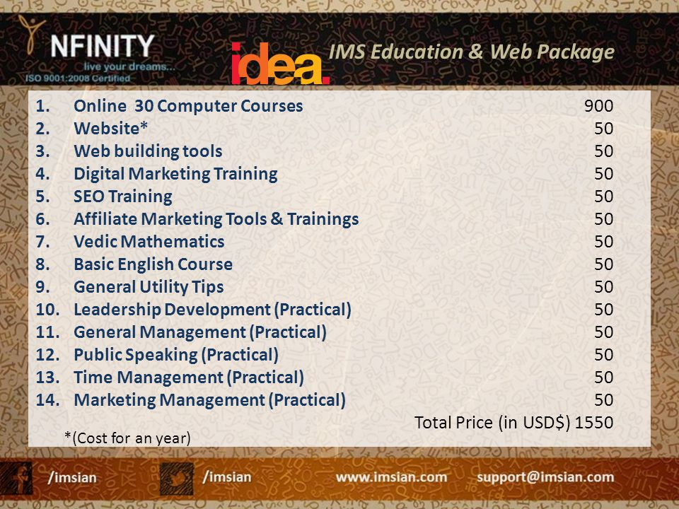 IMS Education & Web Package