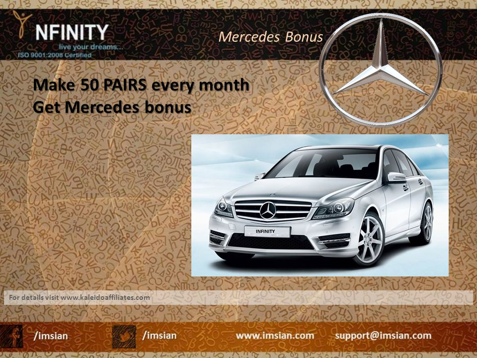 Make 50 PAIRS every month Get Mercedes bonus Mercedes Bonus