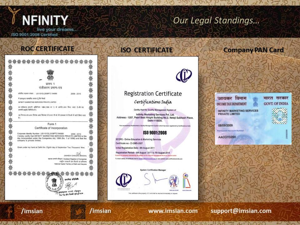 Our Legal Standings… ISO CERTIFICATE ROC CERTIFICATE Company PAN Card