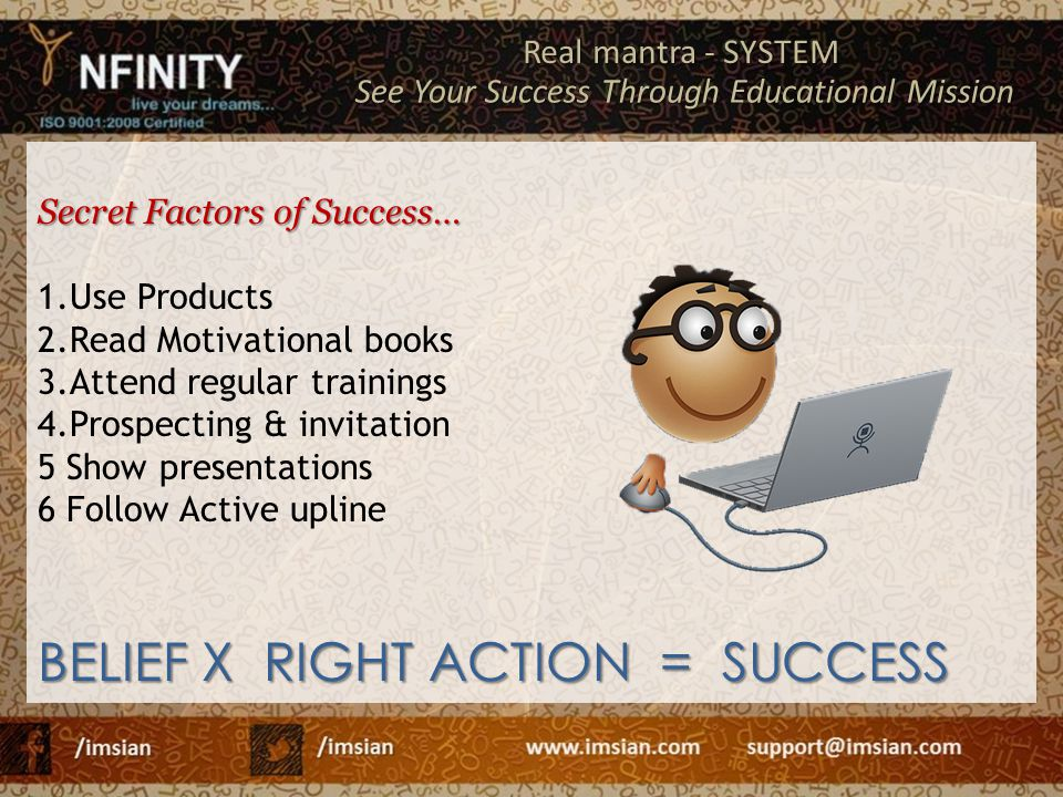 BELIEF X RIGHT ACTION = SUCCESS