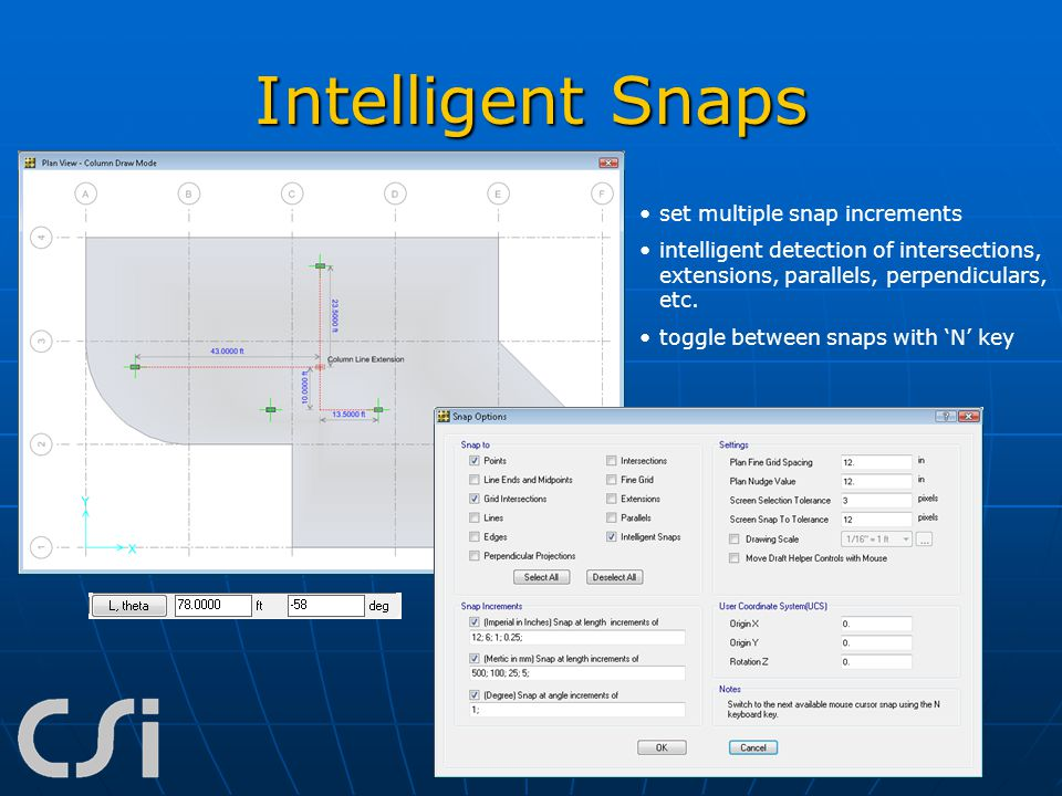 Intelligent Snaps set multiple snap increments