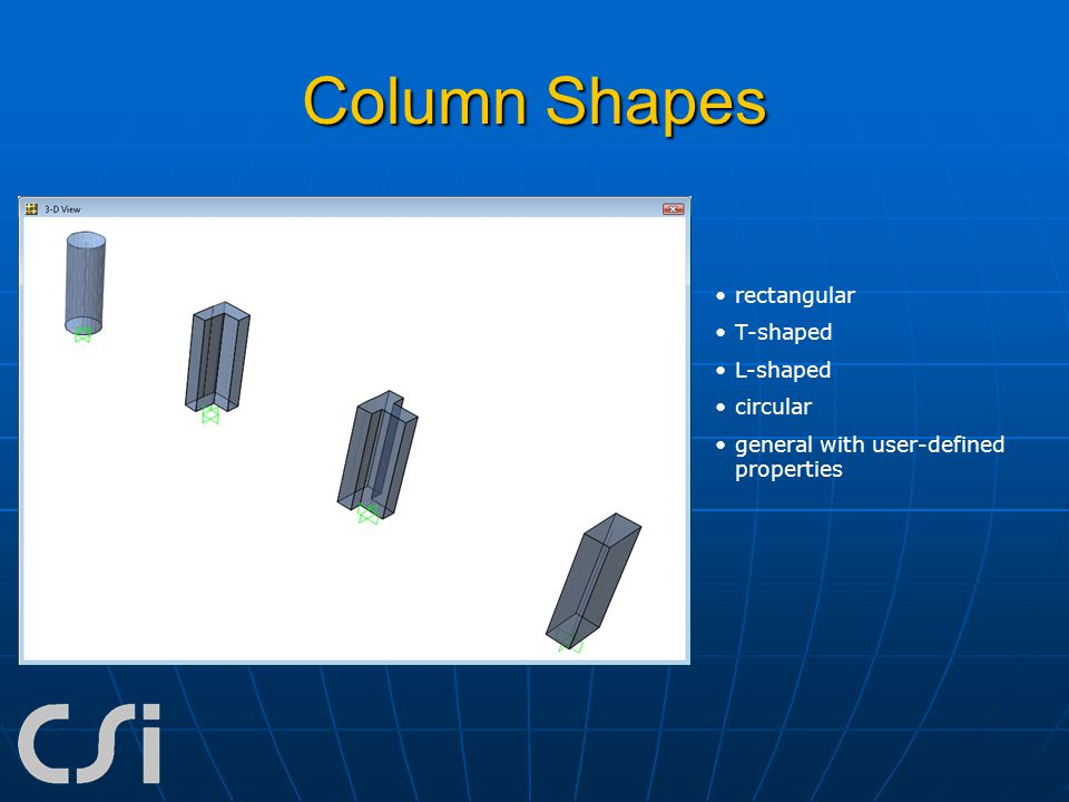 Column Shapes rectangular T-shaped L-shaped circular