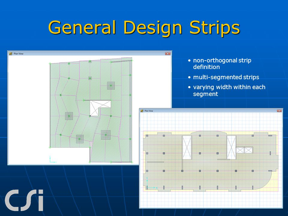 General Design Strips non-orthogonal strip definition