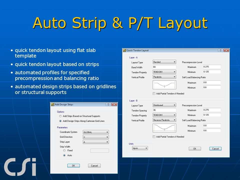 Auto Strip & P/T Layout quick tendon layout using flat slab template
