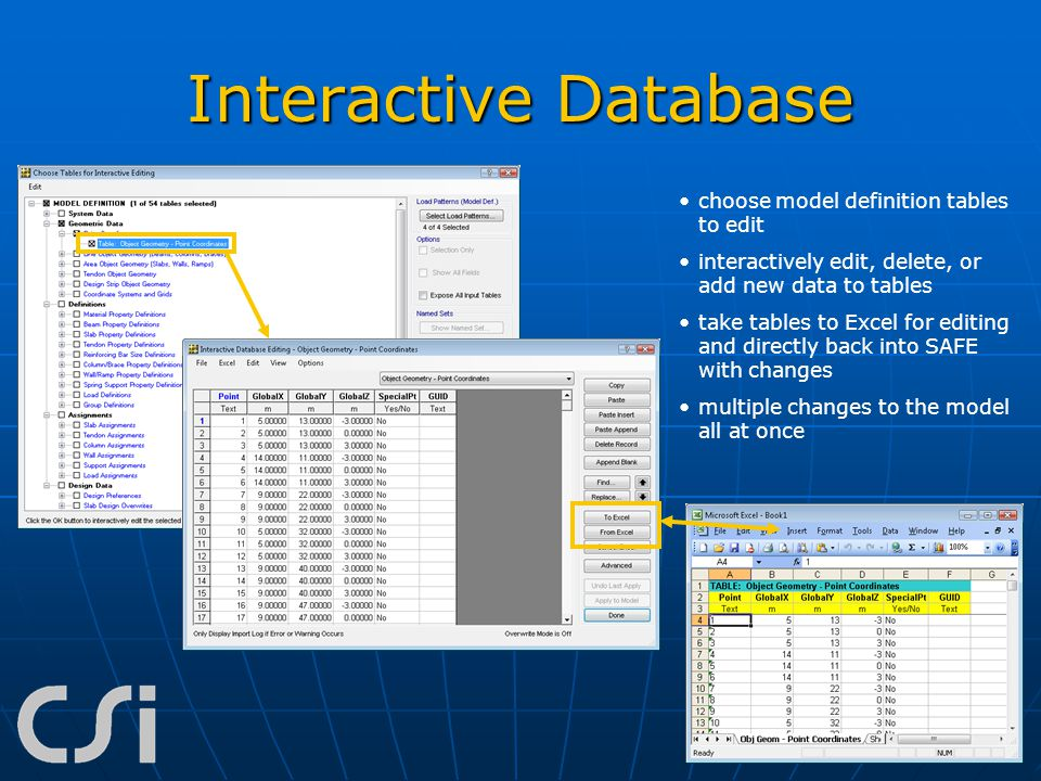 Interactive Database choose model definition tables to edit