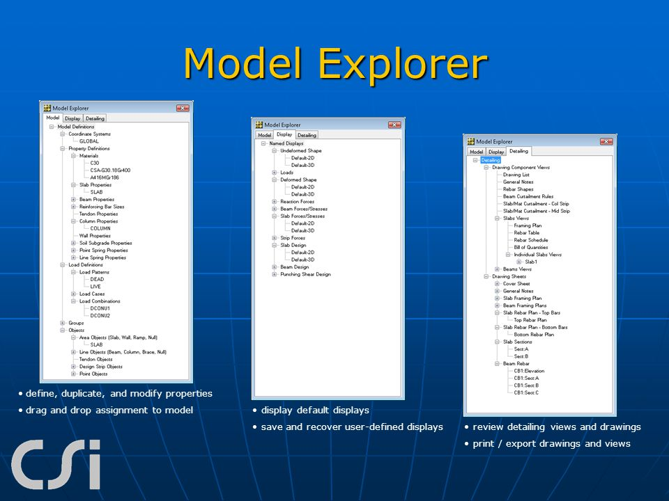 Model Explorer define, duplicate, and modify properties