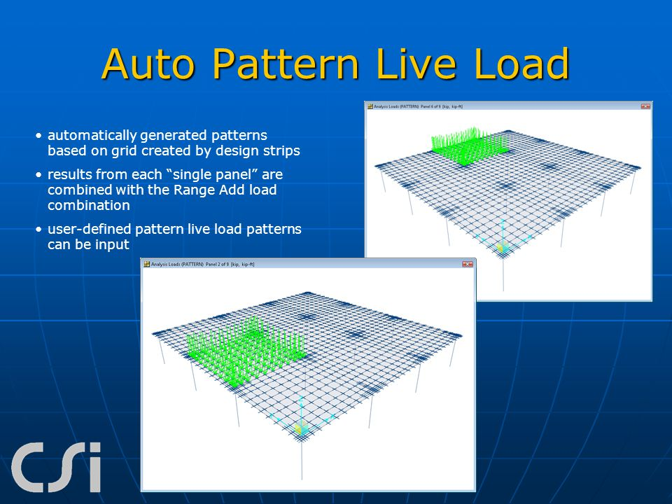 Auto Pattern Live Load automatically generated patterns based on grid created by design strips.
