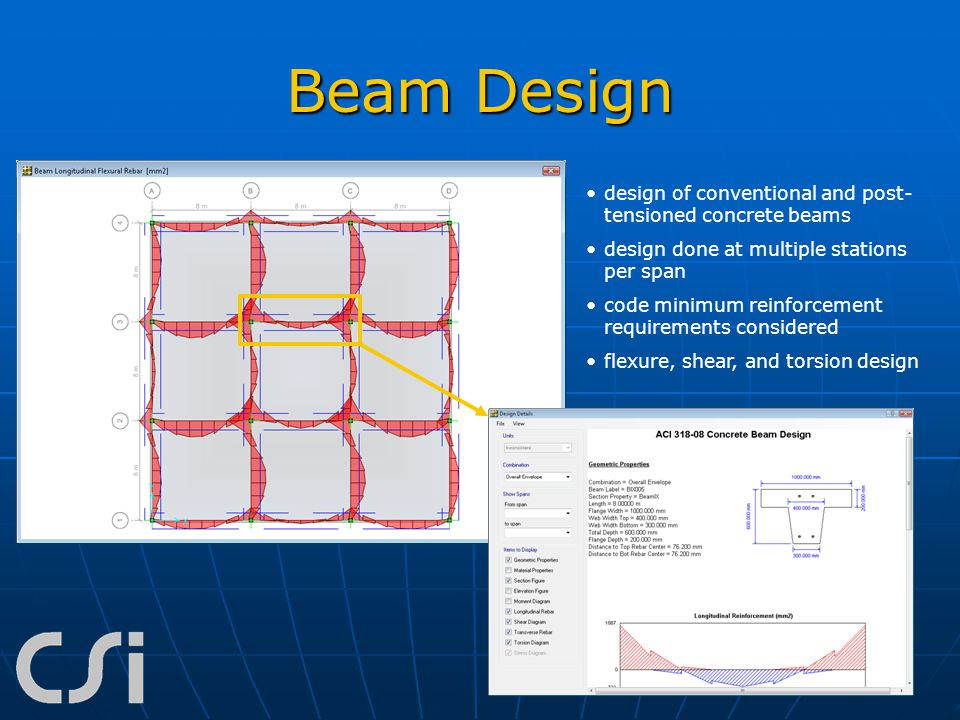 Beam Design design of conventional and post-tensioned concrete beams