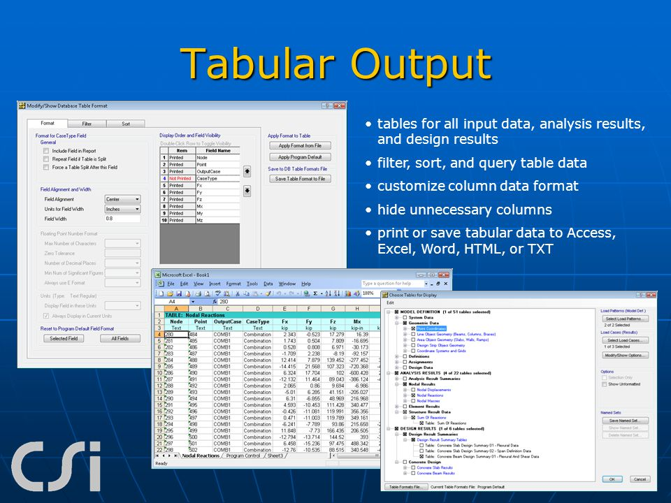 Tabular Output tables for all input data, analysis results, and design results. filter, sort, and query table data.