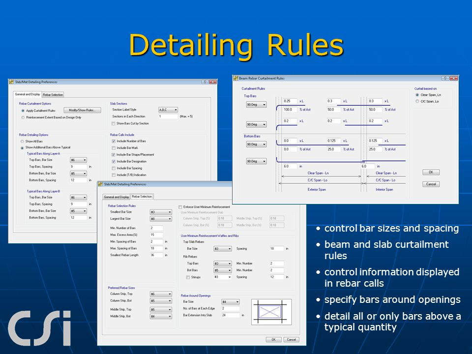 Detailing Rules control bar sizes and spacing