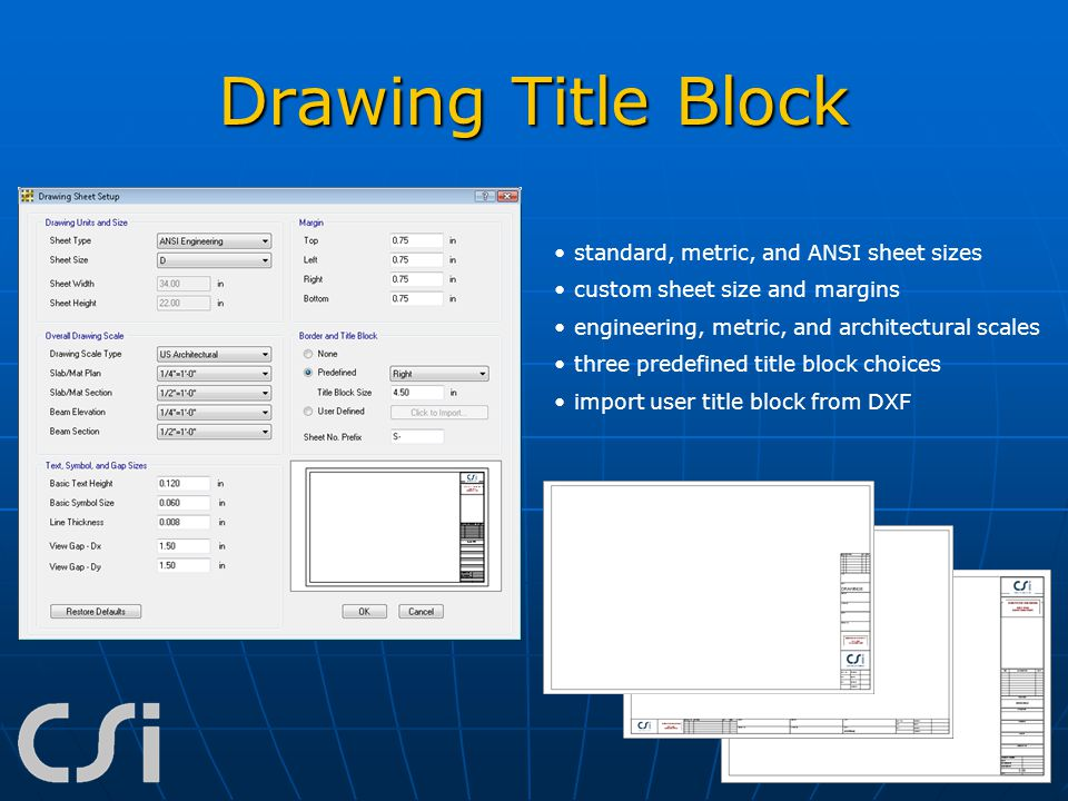 Drawing Title Block standard, metric, and ANSI sheet sizes