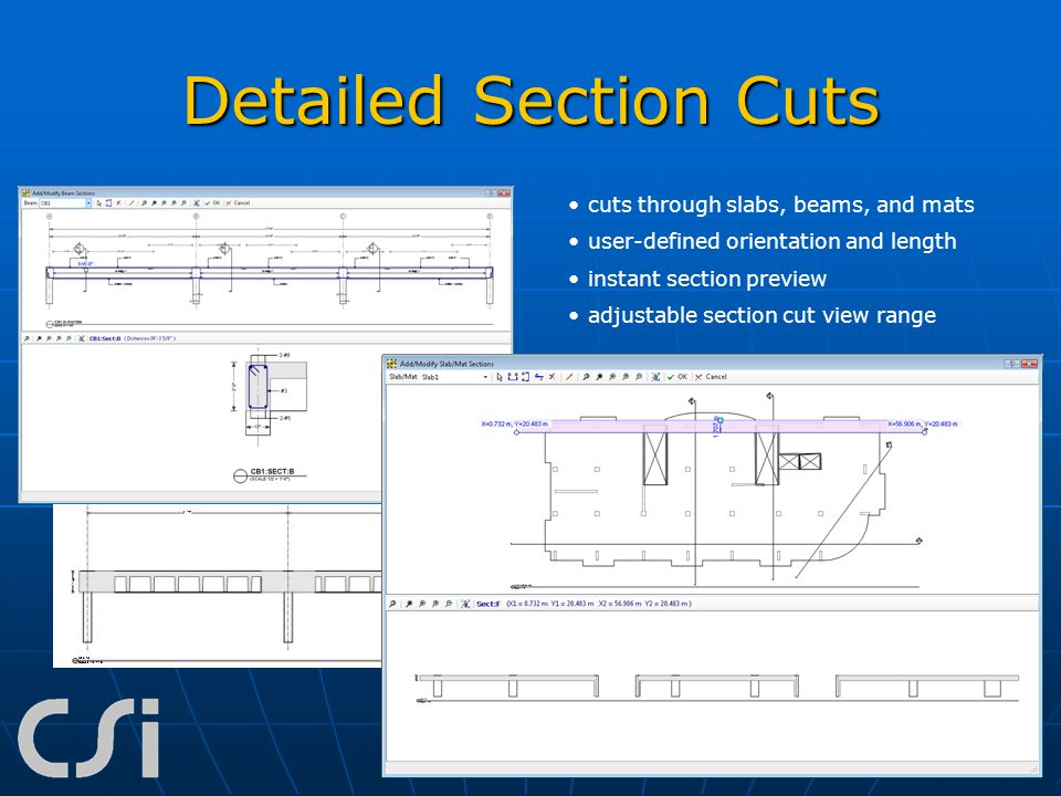 Detailed Section Cuts cuts through slabs, beams, and mats
