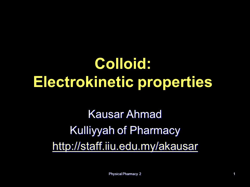Colloid: Electrokinetic properties