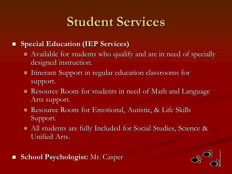 Student Services Special Education (IEP Services)