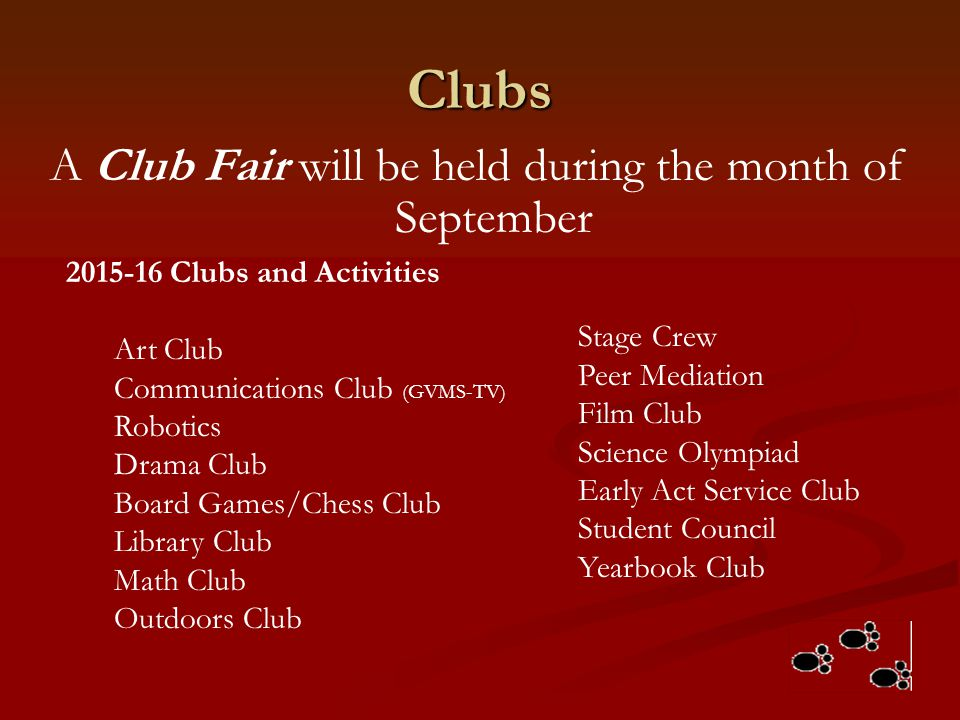 A Club Fair will be held during the month of September