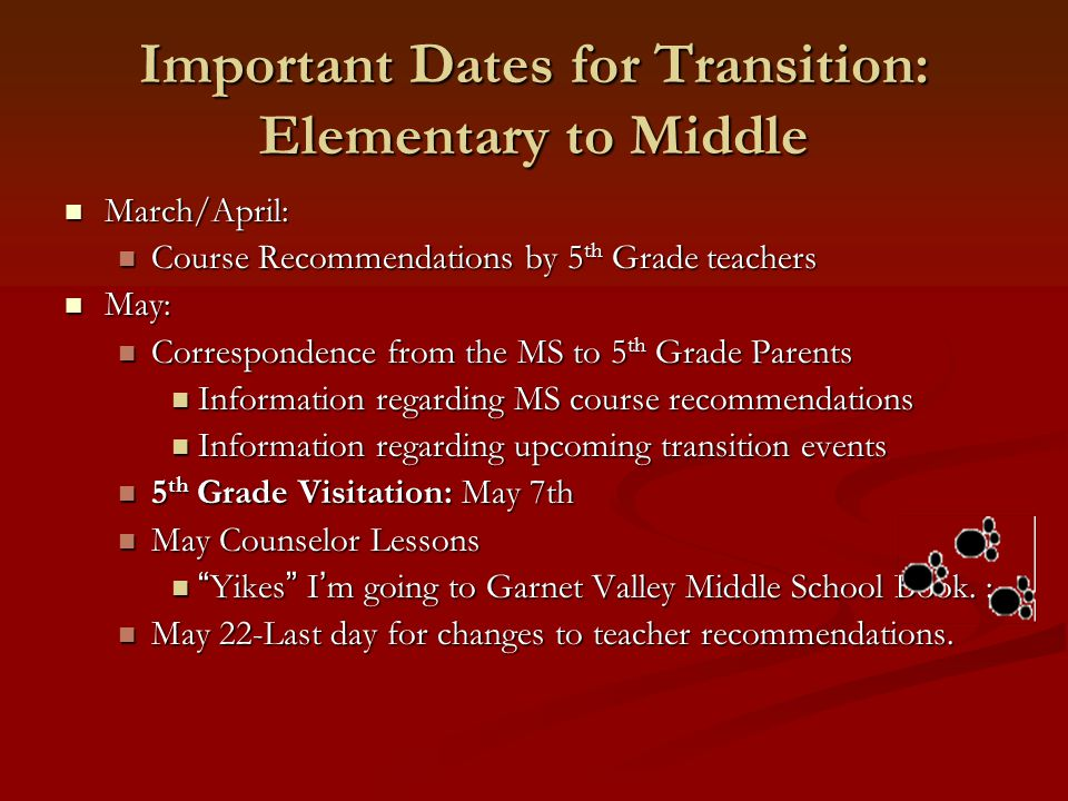 Important Dates for Transition: Elementary to Middle