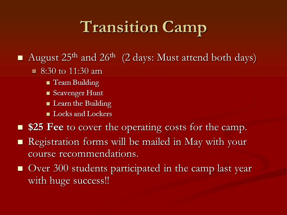 Transition Camp August 25th and 26th (2 days: Must attend both days)