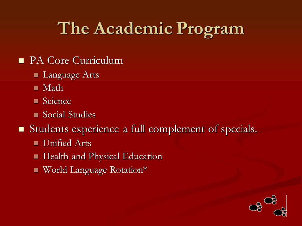 The Academic Program PA Core Curriculum