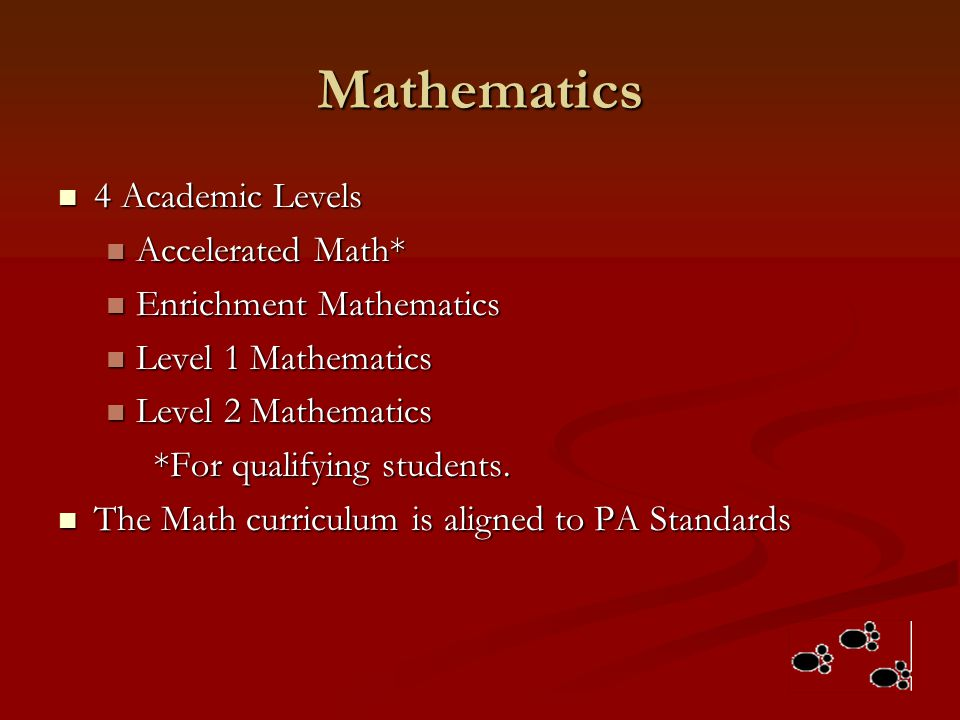 Mathematics 4 Academic Levels Accelerated Math* Enrichment Mathematics