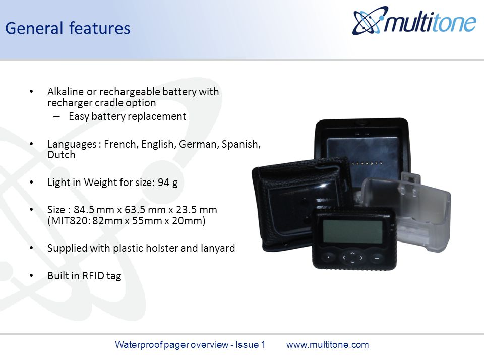 Waterproof pager overview - Issue 1 www.multitone.com