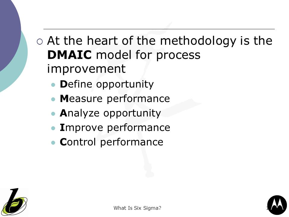 At the heart of the methodology is the DMAIC model for process improvement