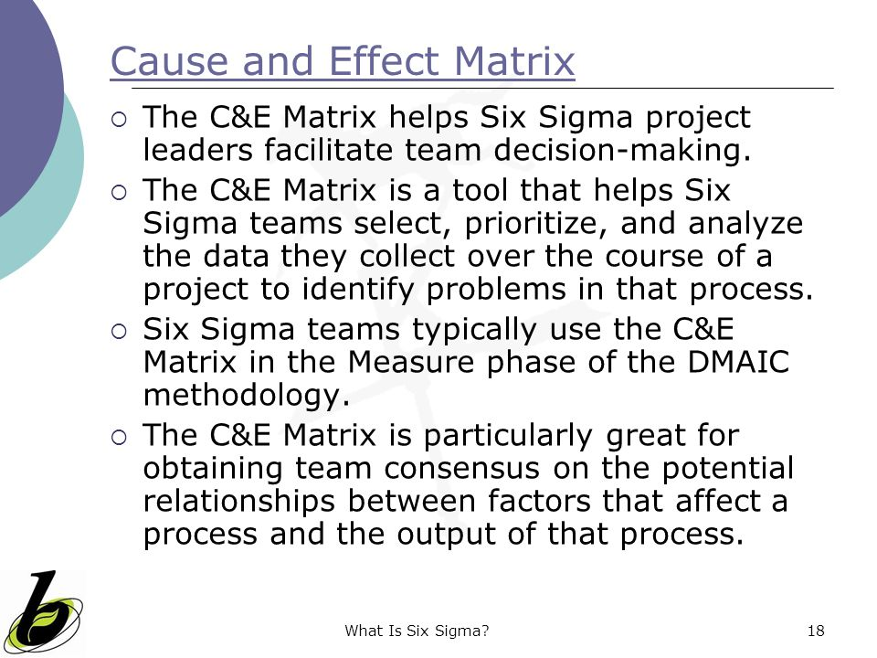 Cause and Effect Matrix